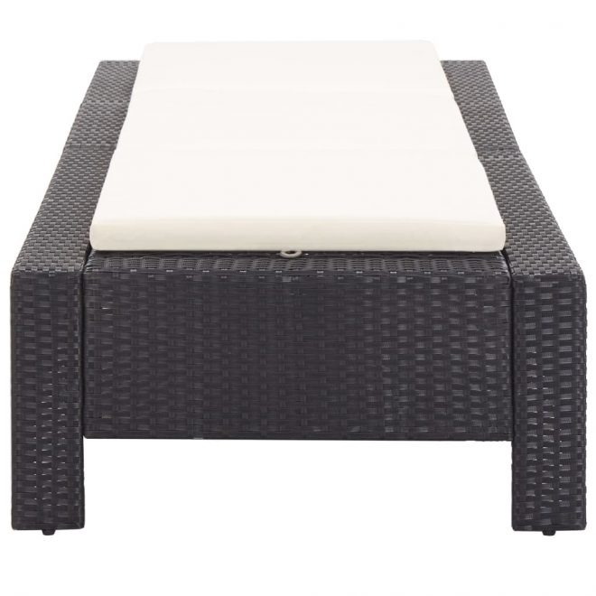 Sunbed with Cushion Black Poly Rattan 6