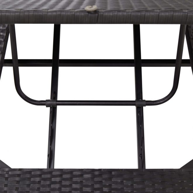Sunbed with Cushion Black Poly Rattan 8