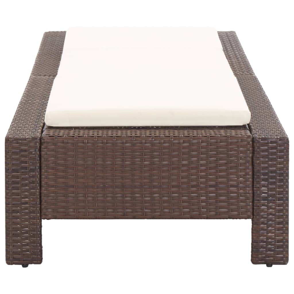 Sunbed with Cushion Brown Poly Rattan 2