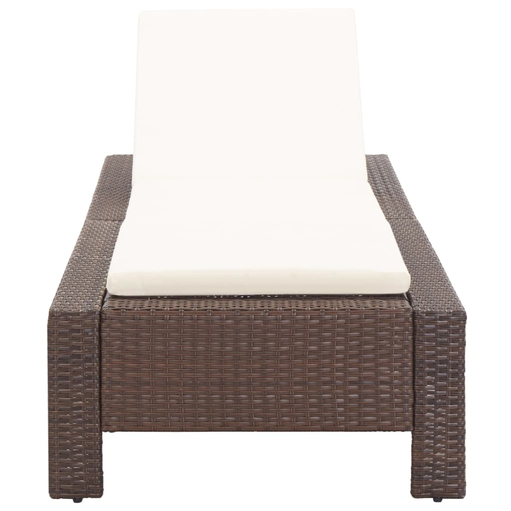 Sunbed with Cushion Brown Poly Rattan 4