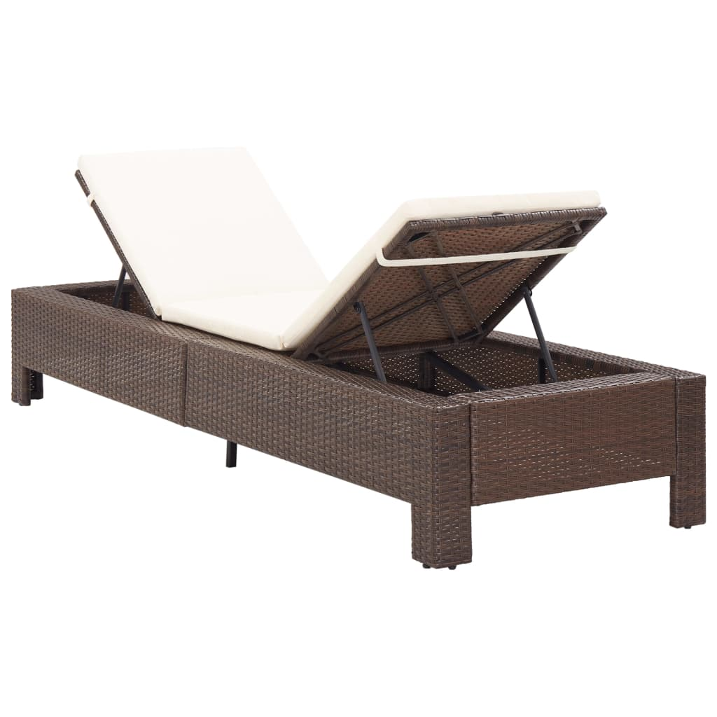 Sunbed with Cushion Brown Poly Rattan 5