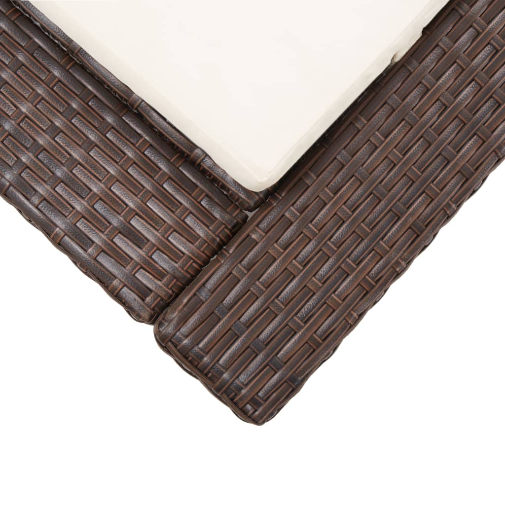 Sunbed with Cushion Brown Poly Rattan 7