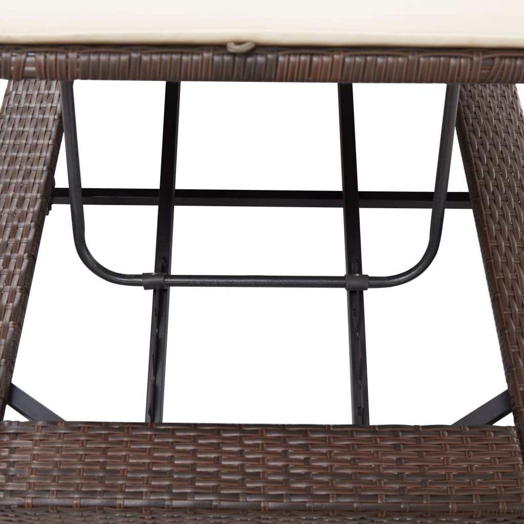Sunbed with Cushion Brown Poly Rattan 8
