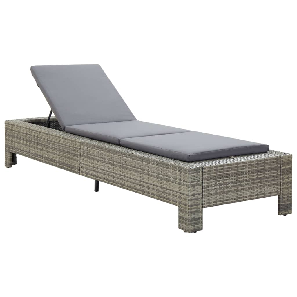 Sunbed with Cushion Grey Poly Rattan 2