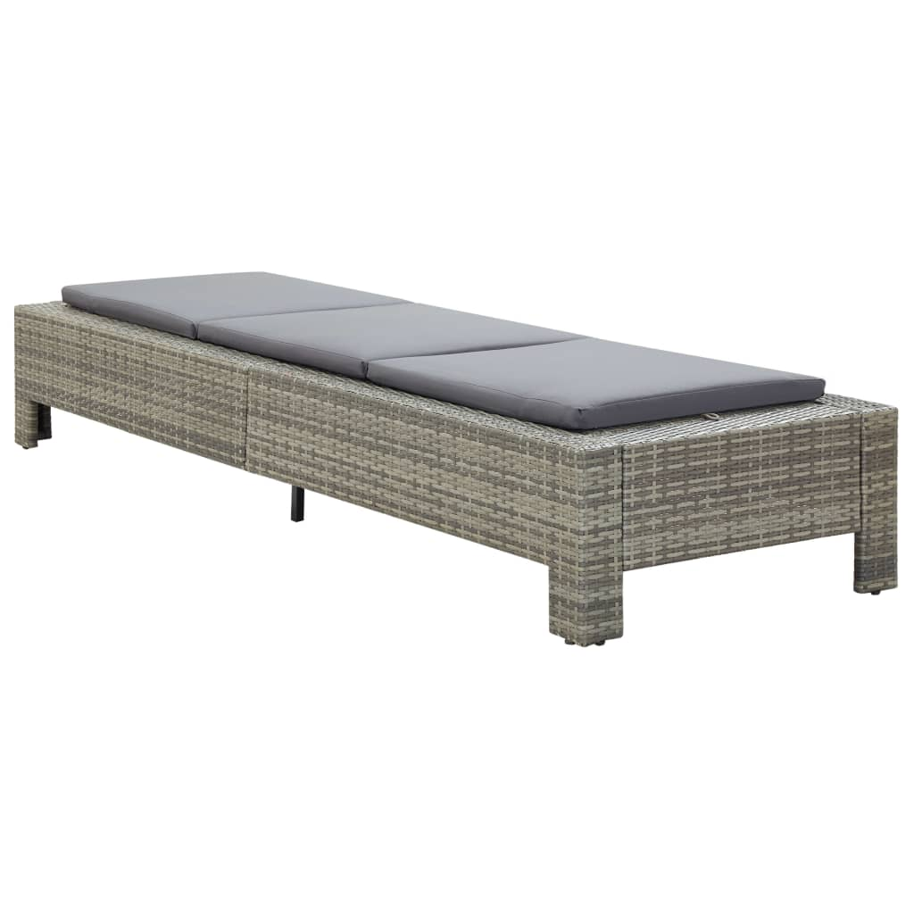 Sunbed with Cushion Grey Poly Rattan 3