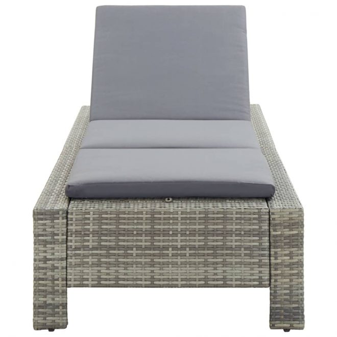 Sunbed with Cushion Grey Poly Rattan 4