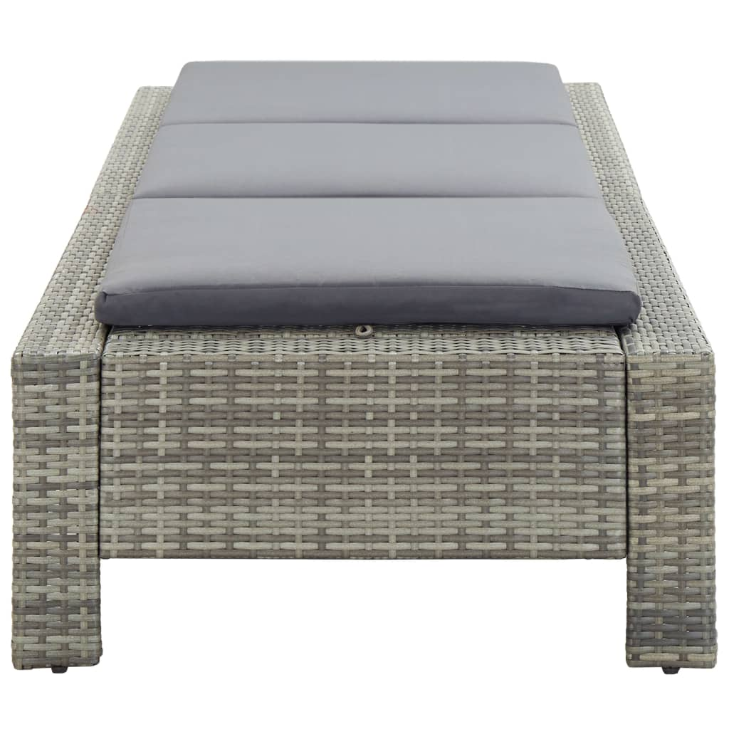 Sunbed with Cushion Grey Poly Rattan 5