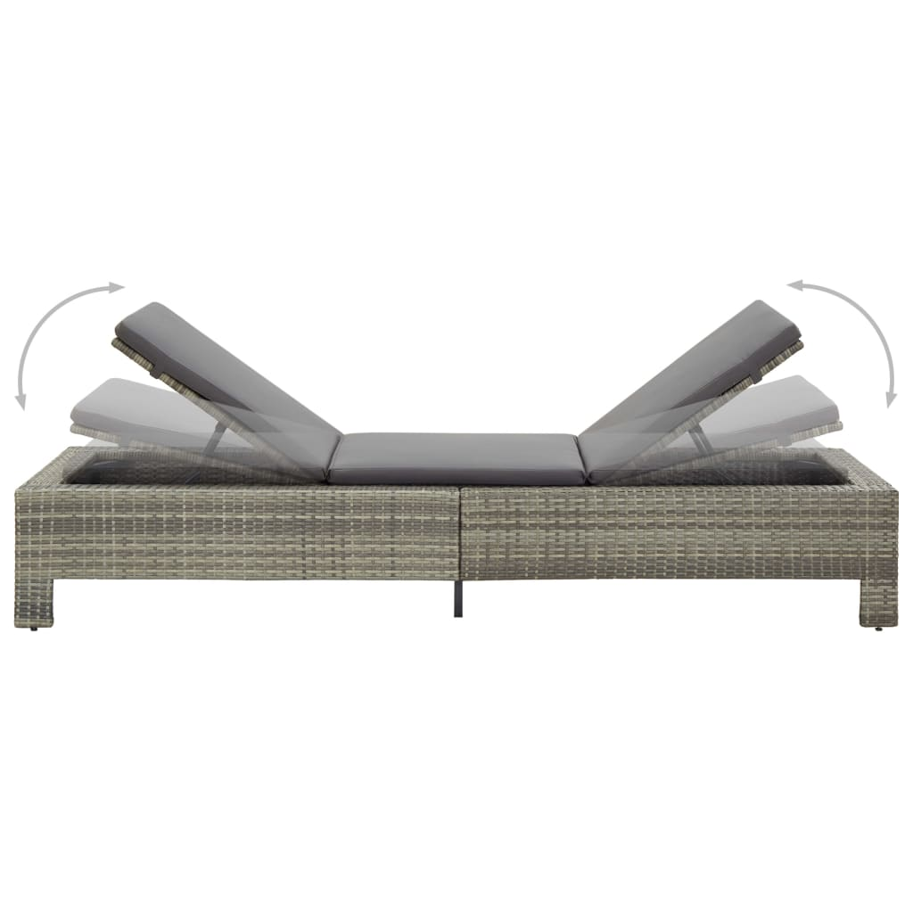 Sunbed with Cushion Grey Poly Rattan 6