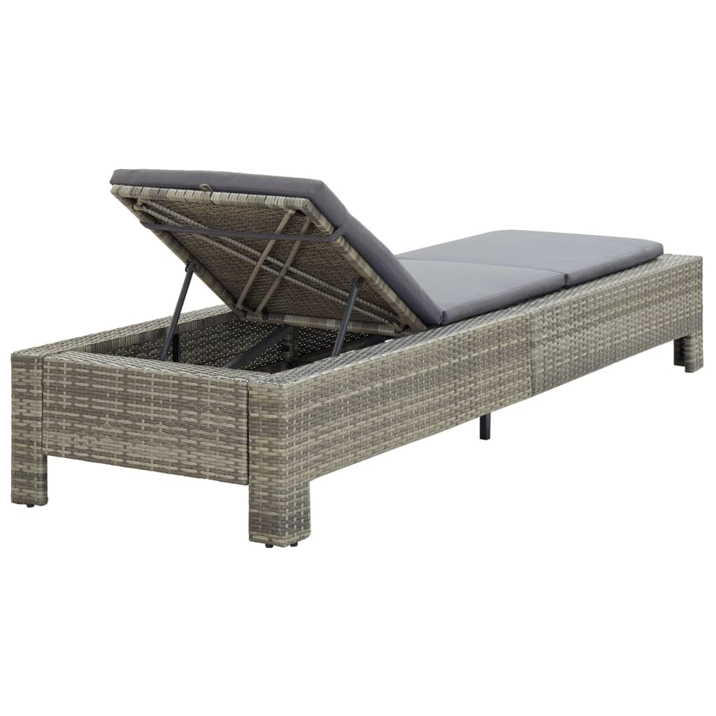 Sunbed with Cushion Grey Poly Rattan 7