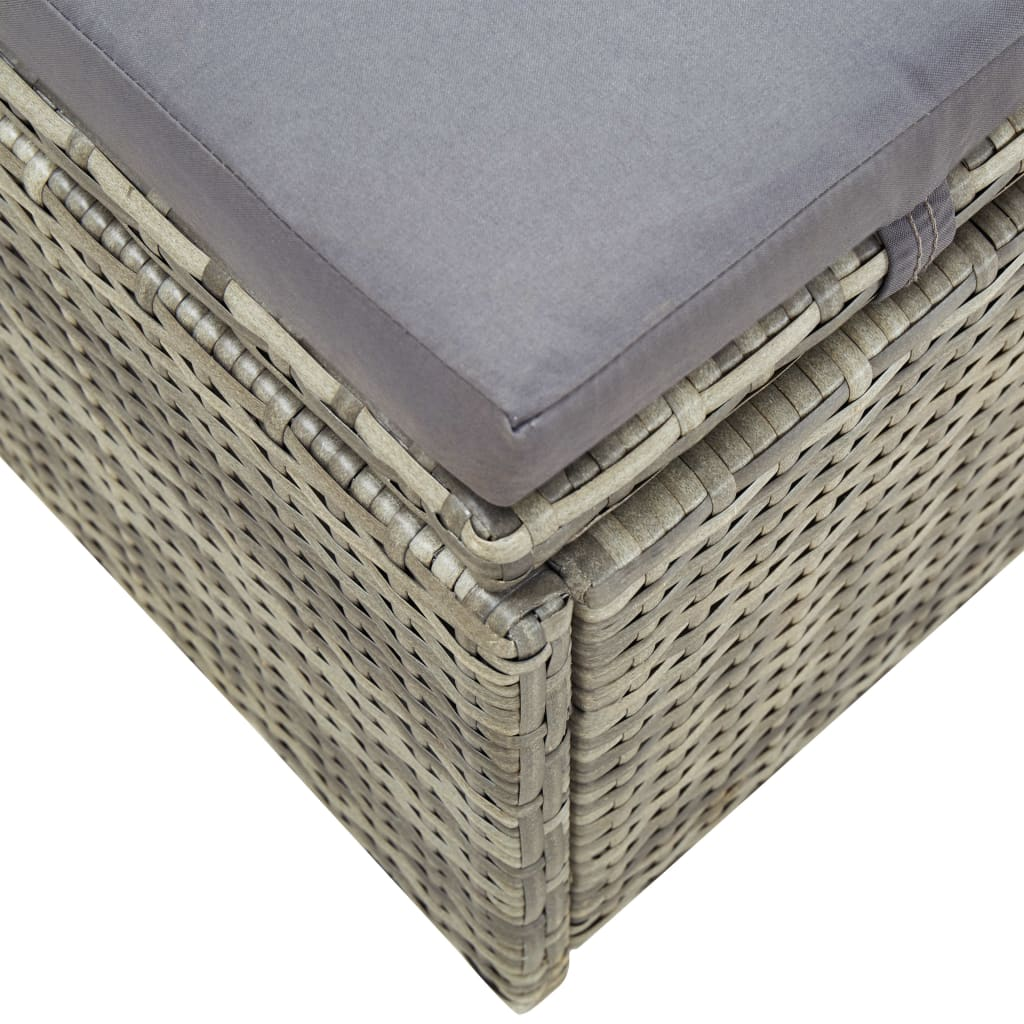 Sunbed with Cushion Grey Poly Rattan 8