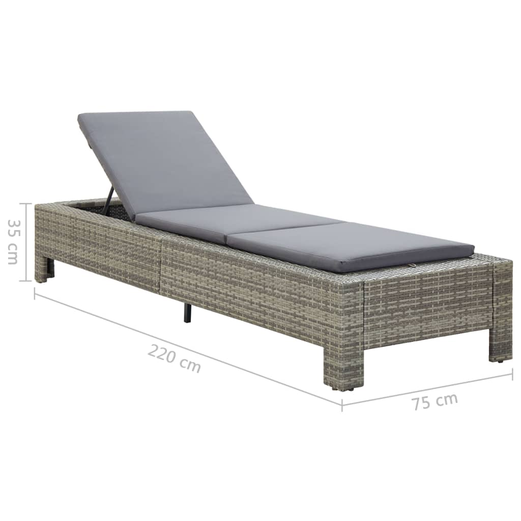 Sunbed with Cushion Grey Poly Rattan 10