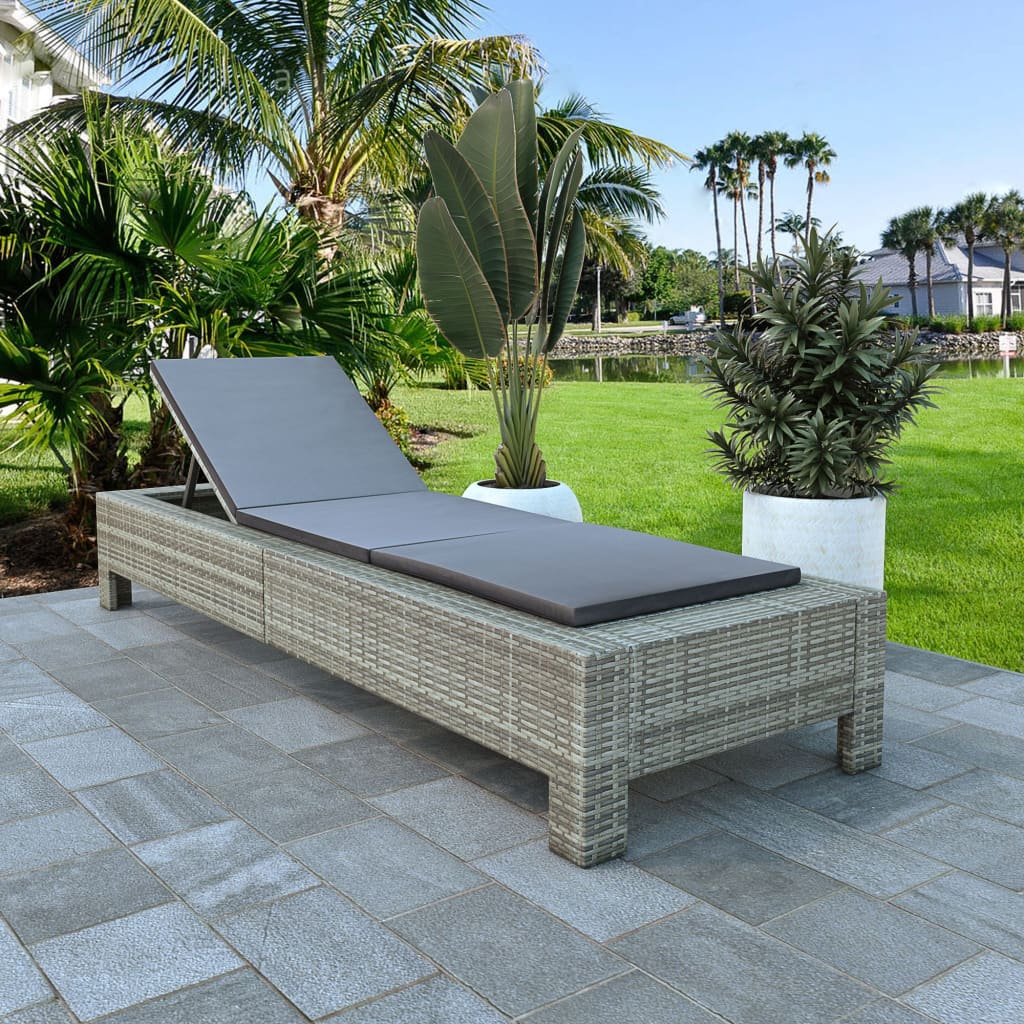Sunbed with Cushion Grey Poly Rattan 1