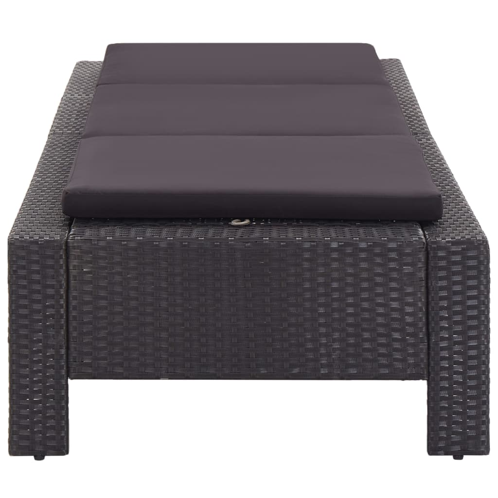 Sunbed with Cushion Black Poly Rattan 2
