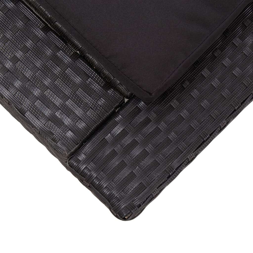 Sunbed with Cushion Black Poly Rattan 7