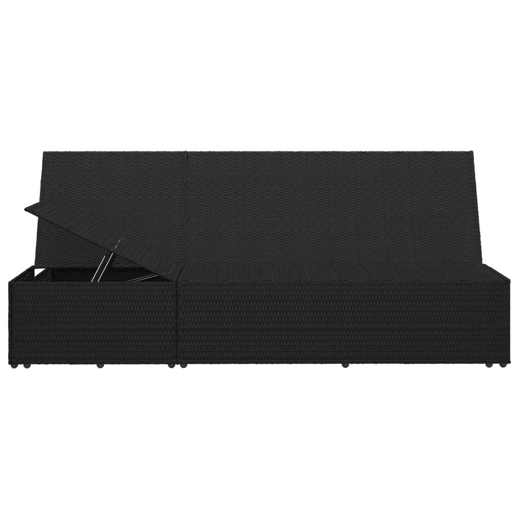 Convertible Sun Bed with Cushion Poly Rattan Black 11