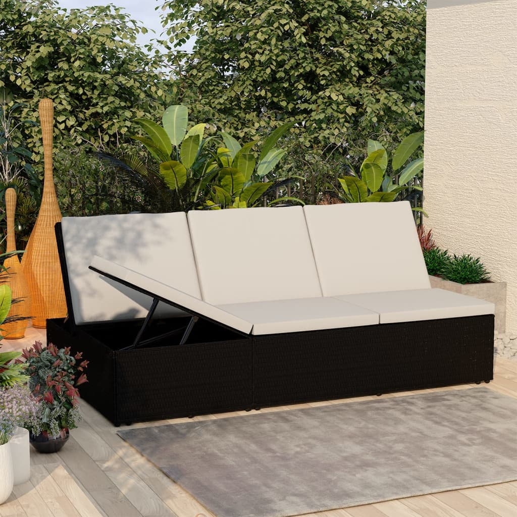 Convertible Sun Bed with Cushion Poly Rattan Black 1