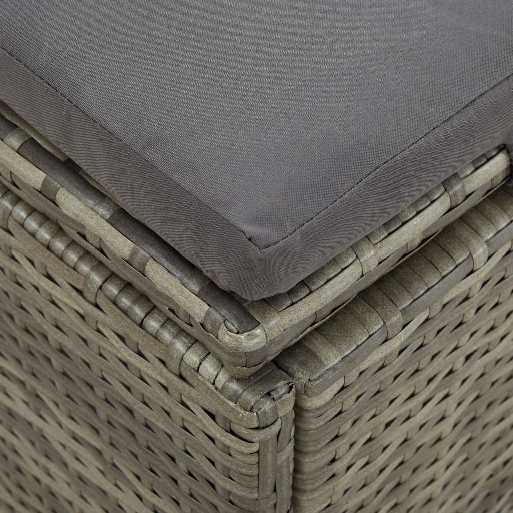 Convertible Sun Bed with Cushion Poly Rattan Grey 3