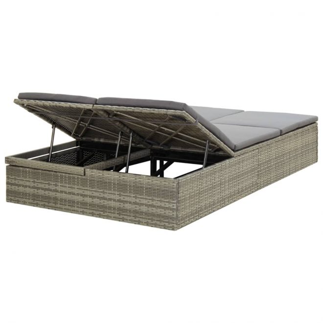 Convertible Sun Bed with Cushion Poly Rattan Grey 4