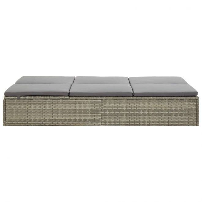 Convertible Sun Bed with Cushion Poly Rattan Grey 8