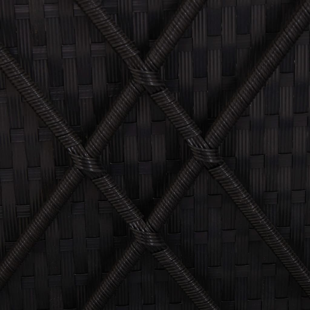 Convertible Sun Bed with Cushion Poly Rattan Black 3