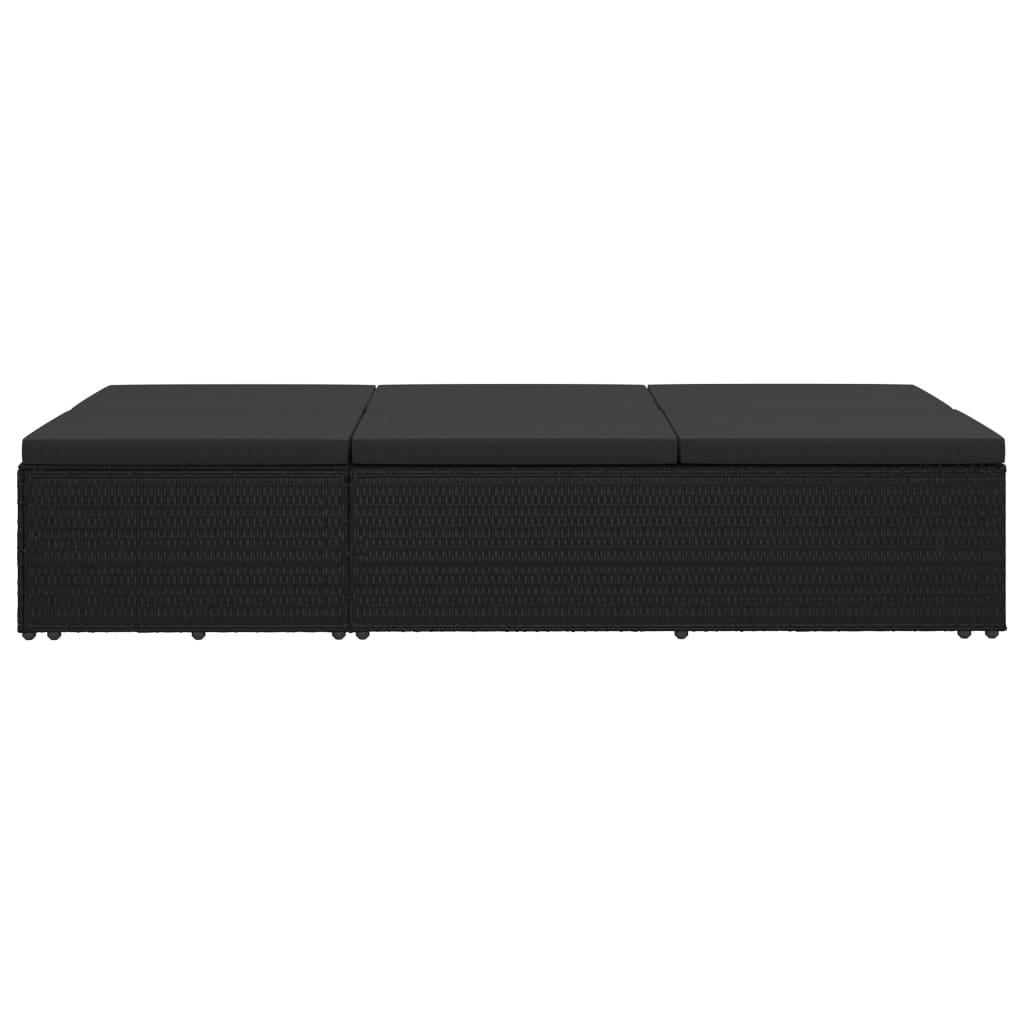 Convertible Sun Bed with Cushion Poly Rattan Black 8