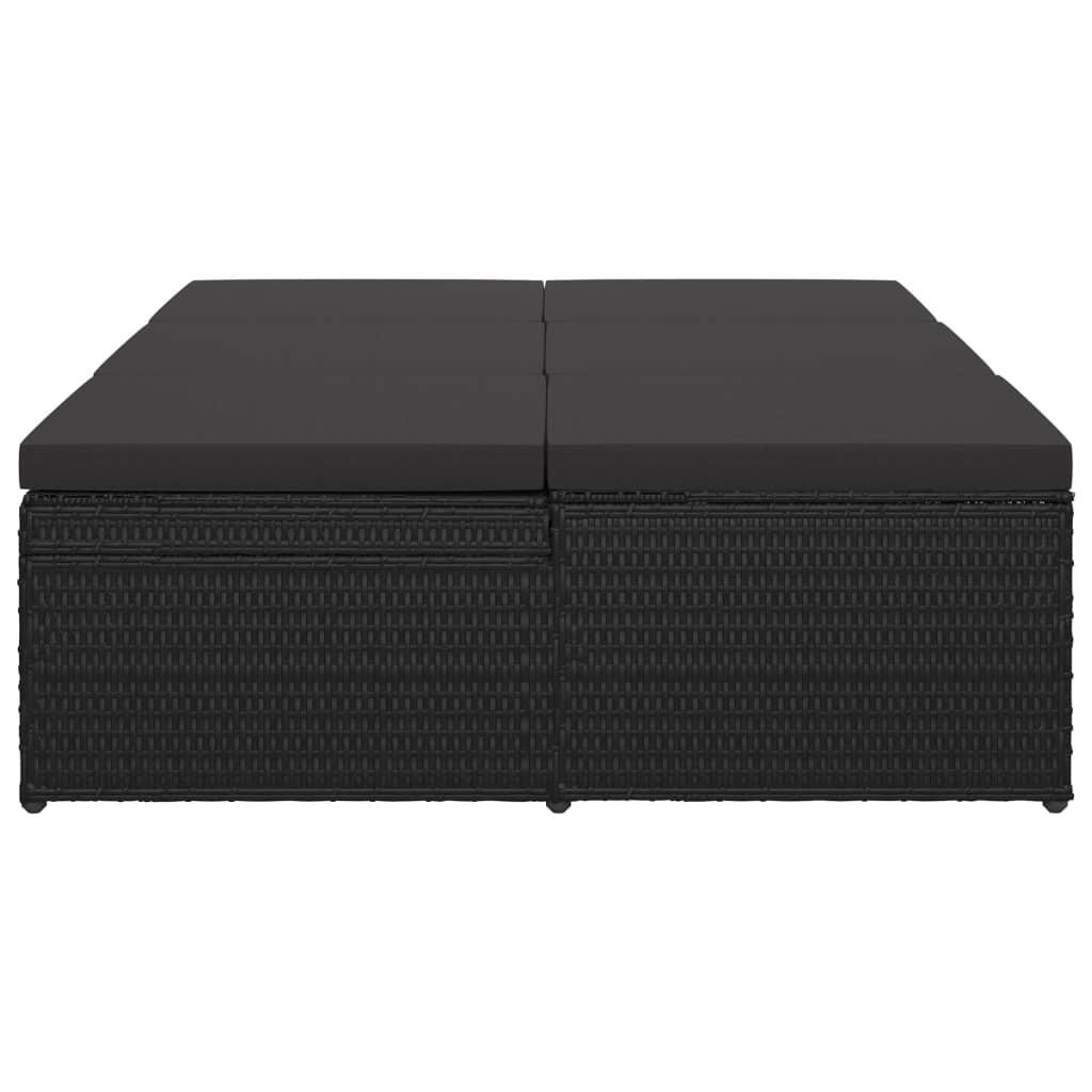Convertible Sun Bed with Cushion Poly Rattan Black 9