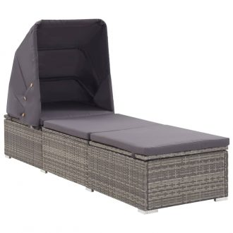Sun Lounger with Canopy and Cushion Poly Rattan Grey 1