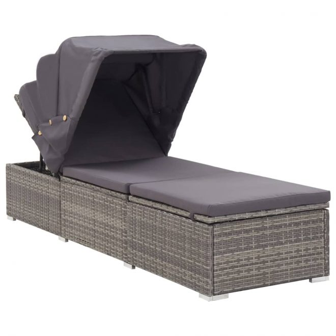 Sun Lounger with Canopy and Cushion Poly Rattan Grey 2