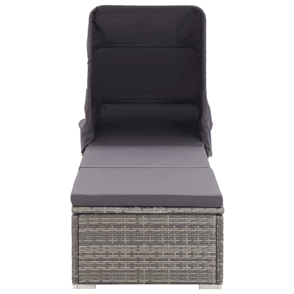 Sun Lounger with Canopy and Cushion Poly Rattan Grey 3