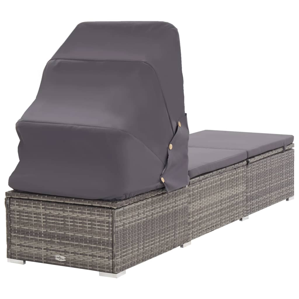 Sun Lounger with Canopy and Cushion Poly Rattan Grey 4