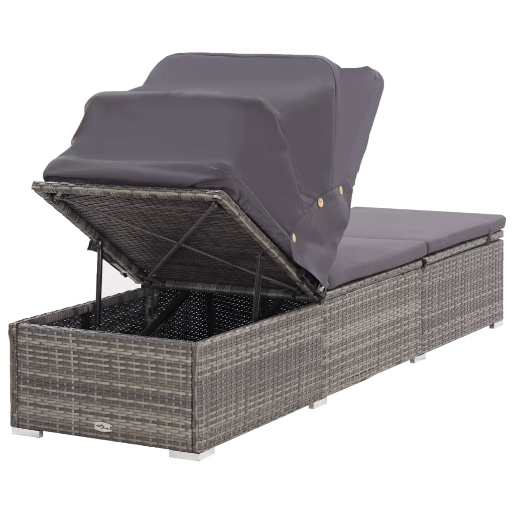 Sun Lounger with Canopy and Cushion Poly Rattan Grey 5