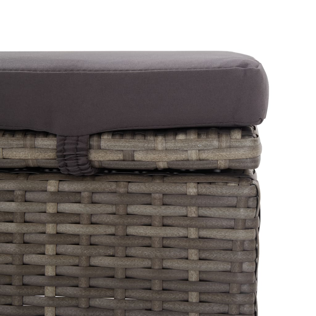 Sun Lounger with Canopy and Cushion Poly Rattan Grey 7
