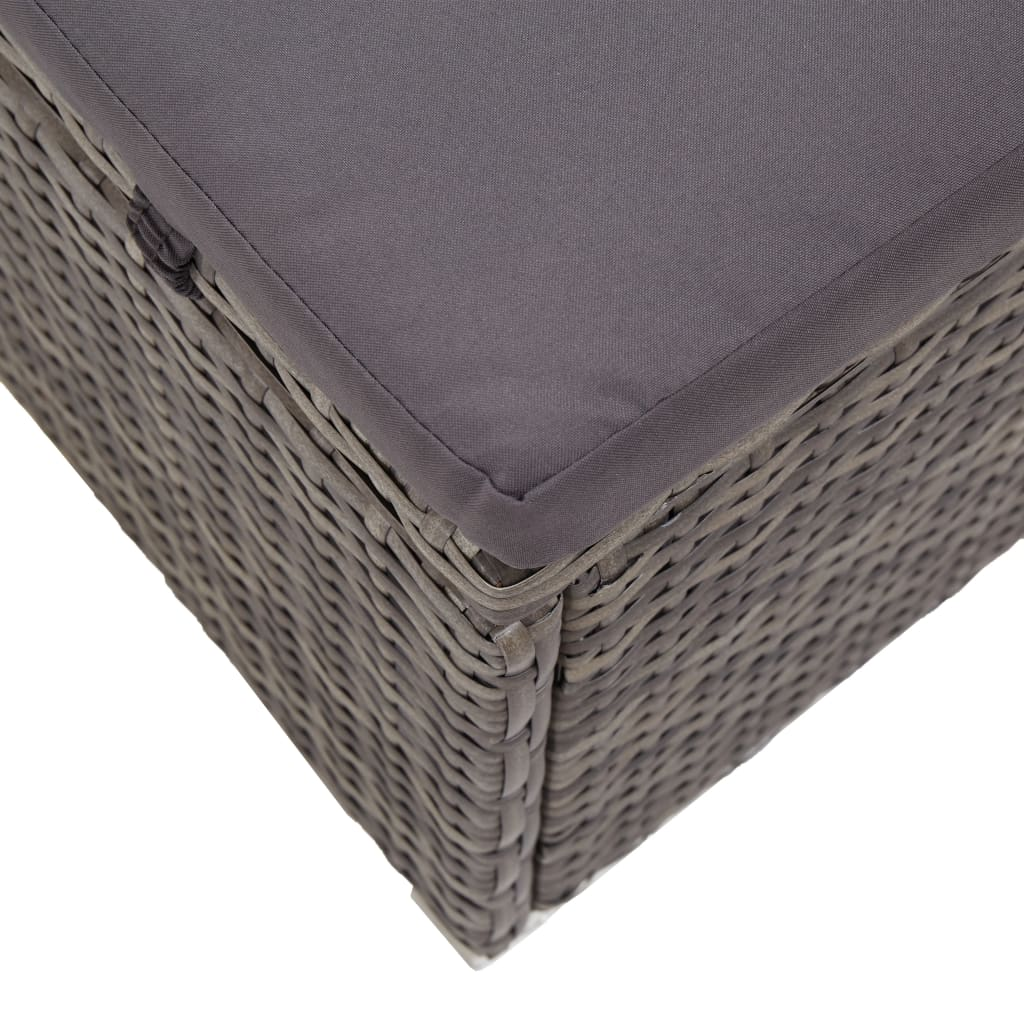 Sun Lounger with Canopy and Cushion Poly Rattan Grey 8