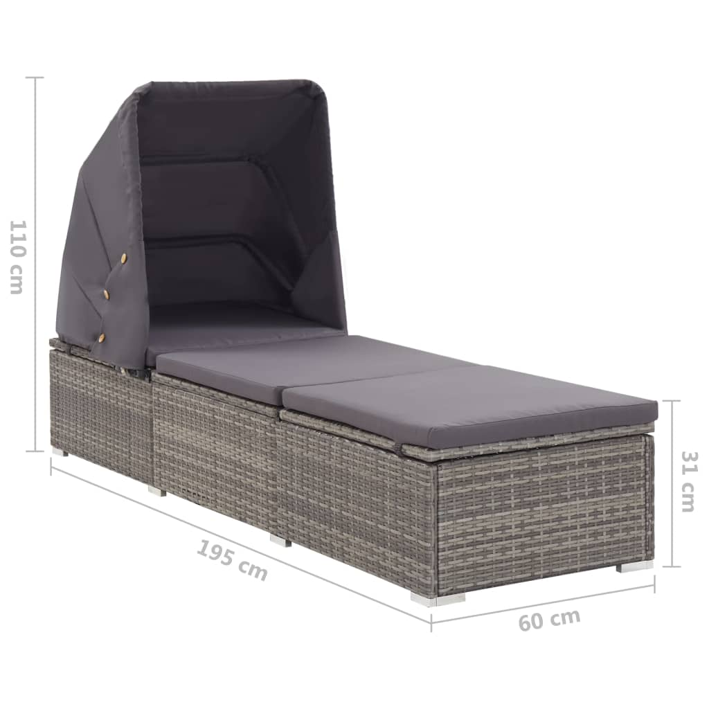 Sun Lounger with Canopy and Cushion Poly Rattan Grey 9