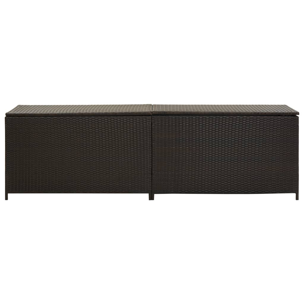 Garden Storage Box Poly Rattan 200x50x60 cm Brown 3