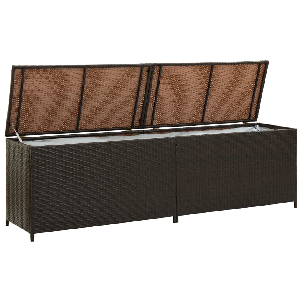 Garden Storage Box Poly Rattan 200x50x60 cm Brown 4