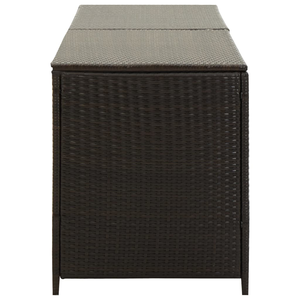 Garden Storage Box Poly Rattan 200x50x60 cm Brown 5