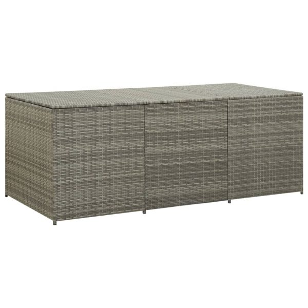 Garden Storage Box Poly Rattan 180x90x75 cm Grey 1