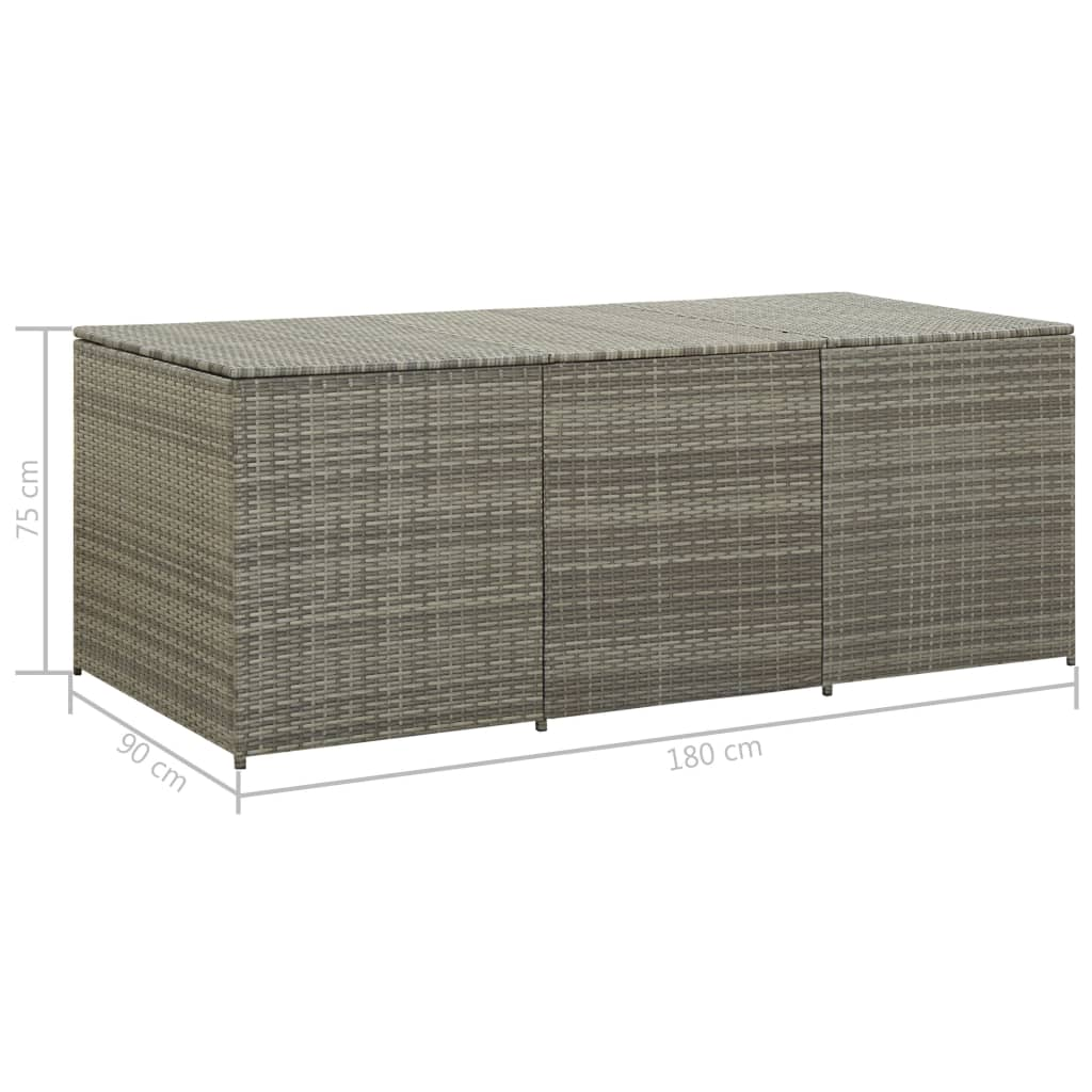 Garden Storage Box Poly Rattan 180x90x75 cm Grey 8