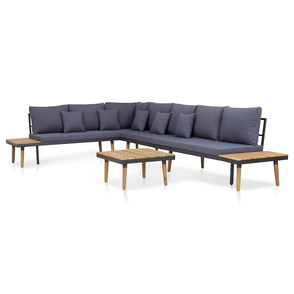 5 Piece Garden Lounge Set with Cushions Solid Acacia Wood Brown 1