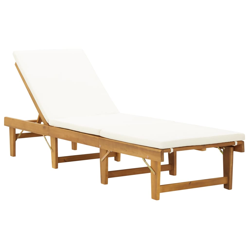 Folding Sun Lounger with Cushion Solid Acacia Wood