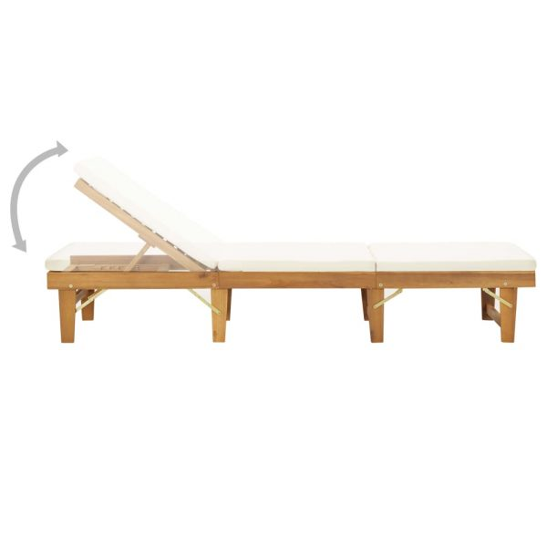 Folding Sun Lounger with Cushion Solid Acacia Wood 3