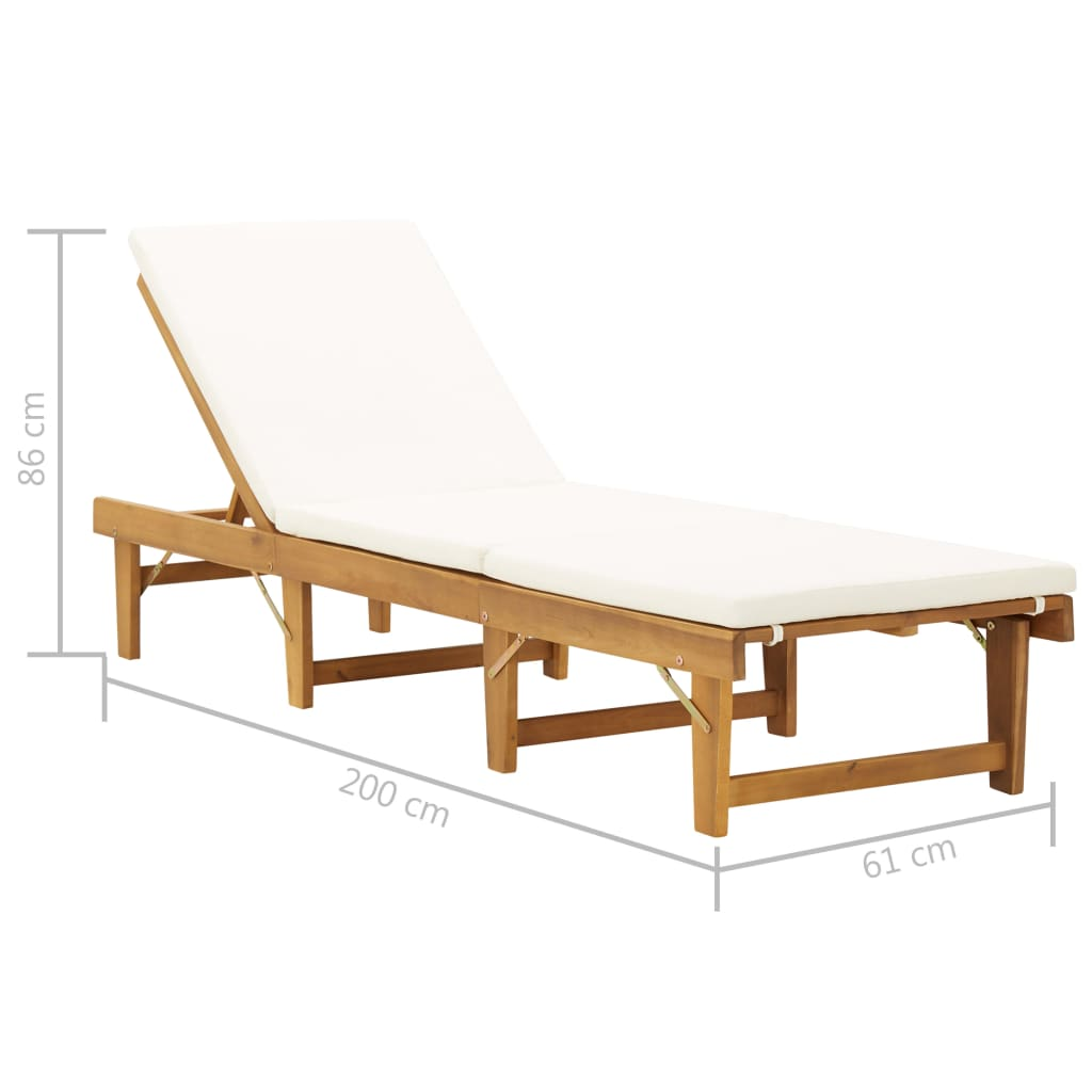 Folding Sun Lounger with Cushion Solid Acacia Wood 7