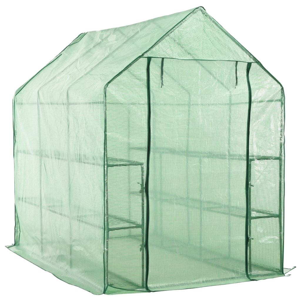Walk-in Greenhouse with 12 Shelves Steel 143x214x196 cm