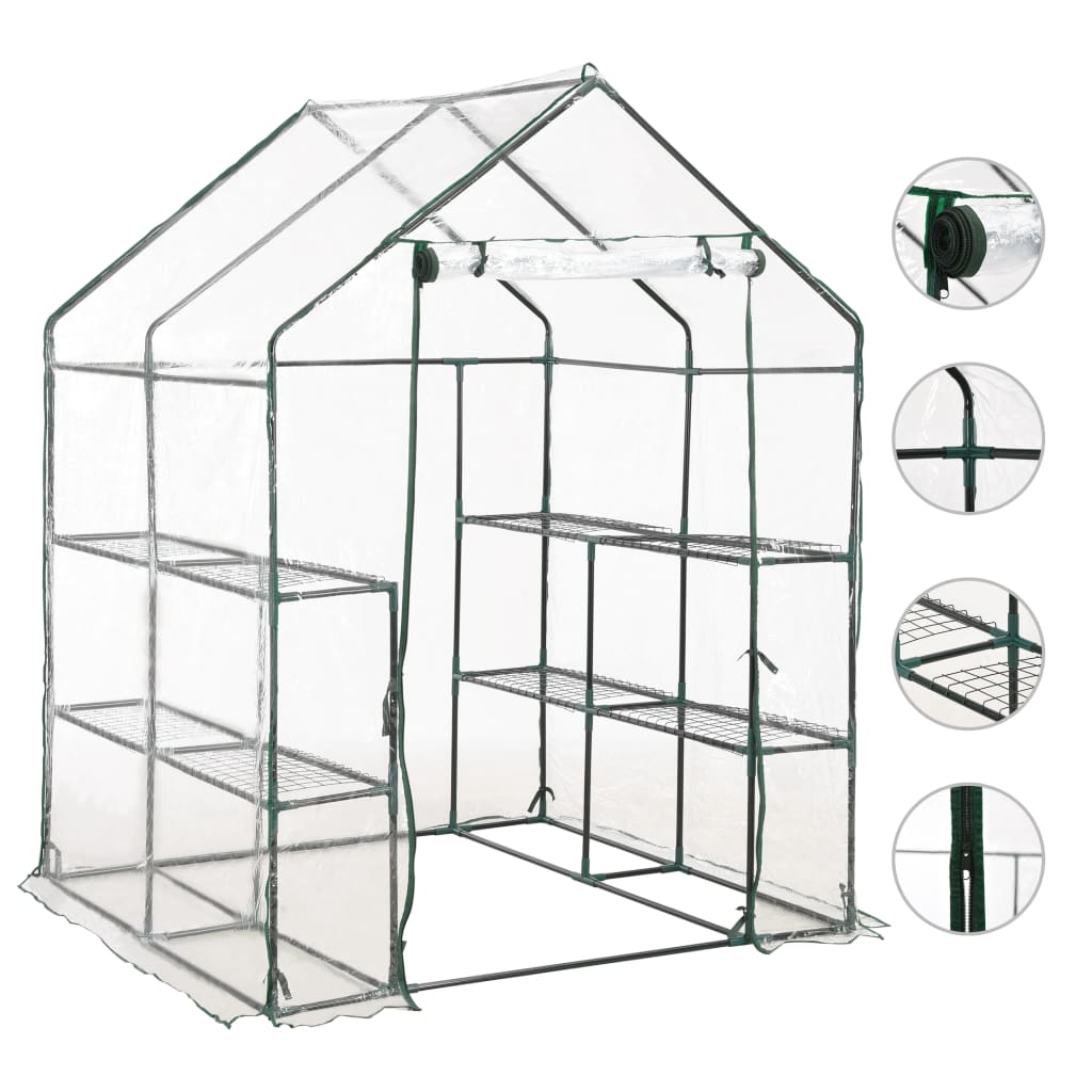 Greenhouse with 8 Shelves 143x143x195 cm 1