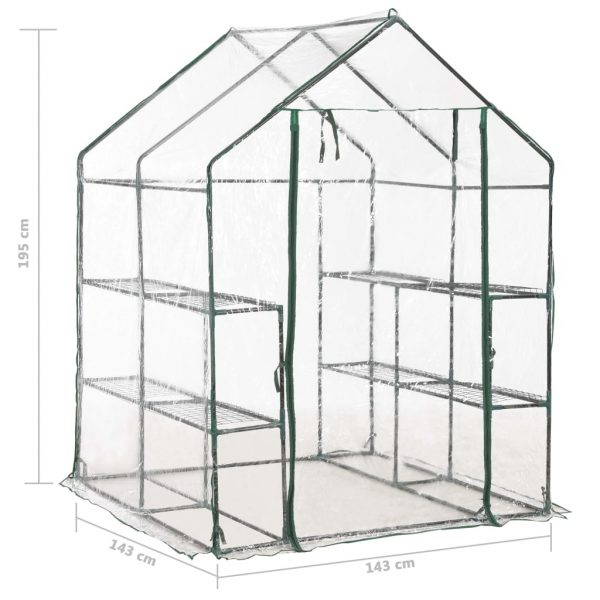 Greenhouse with 8 Shelves 143x143x195 cm 8