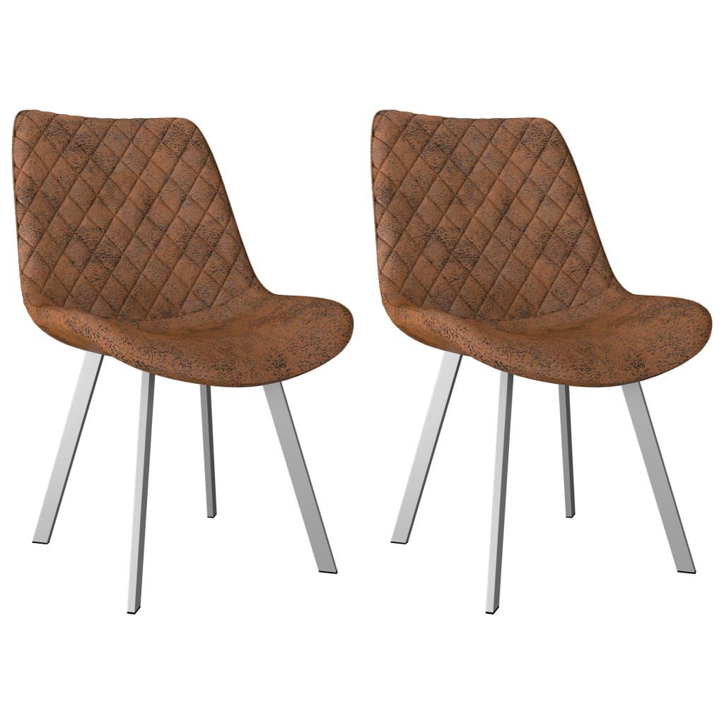 Dining Chairs 2 pcs Brown Faux Suede Leather