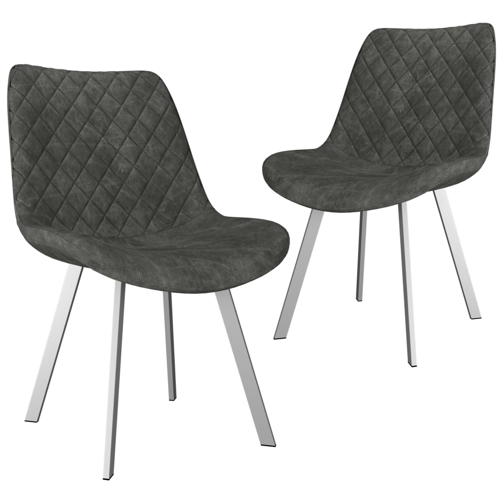 Dining Chairs 2 pcs Grey Faux Suede Leather 1