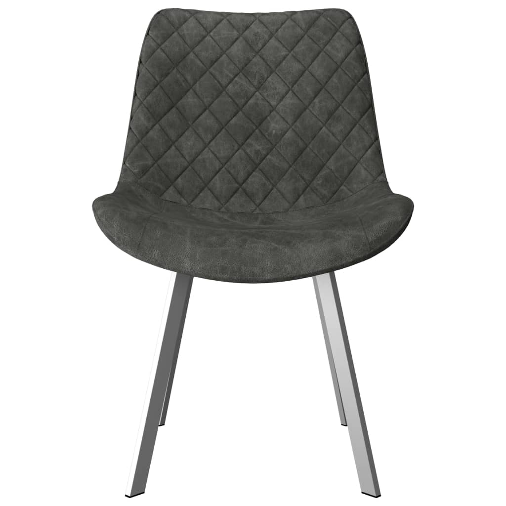 Dining Chairs 2 pcs Grey Faux Suede Leather 3