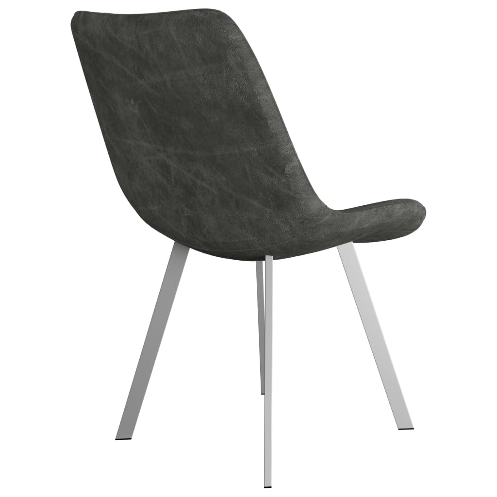 Dining Chairs 2 pcs Grey Faux Suede Leather 5